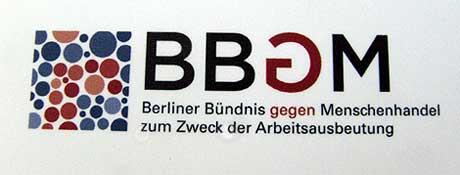 Logo des Berliner Bündnisses gegen Menschenhandel zum Zweck der Arbeitsausbeutung