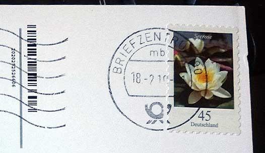 Postkarte Rückseite Briefmark
